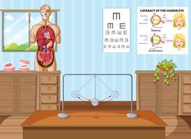 Sala de aula de ciências com equipamentos e gráficos