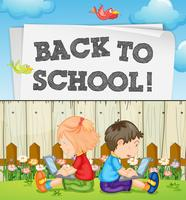 Back to school theme with kids and computers vector