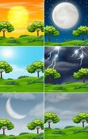 Set van de natuur in verschillende weersomstandigheden