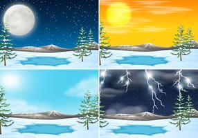 Conjunto de escena al aire libre de invierno