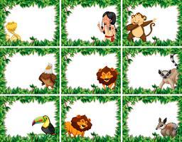 Set van dieren en mensen natuur frames