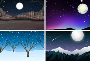 Set of nature landscape at night