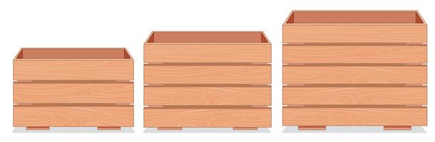 Set of wooden crate