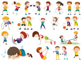 Set of exercise kid character