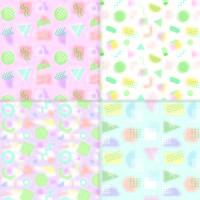 Memphis style pastel seamless patterns vector