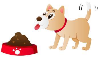 Hund äter mat från skålen