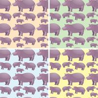 Seamless background with wild hippo vector