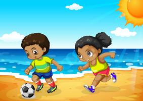 African boy and girl playing football