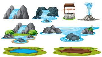Conjunto de elemento agua aislado