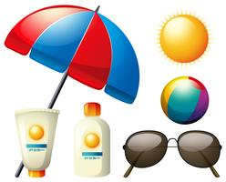 Summer elements with umbrella and sun
