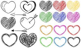 Doodle diferentes diseños de formas de corazón.