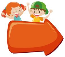 Sign template with happy children vector