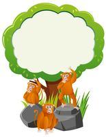 Border template with three monkeys under tree