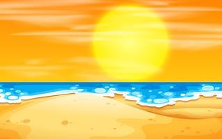 Una escena de playa al atardecer