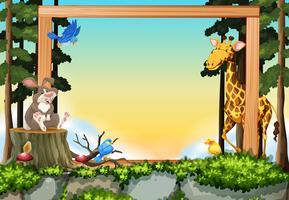 Wild animals in forest frame