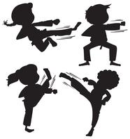Set of silhouette karate kids
