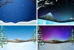 Conjunto de paisagem de inverno