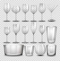 En uppsättning av transparent glas