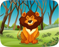 León sentado en el bosque