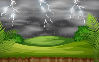 A thunderstorm nature scene vector