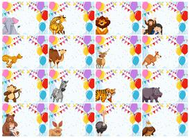 large set of animal invitations