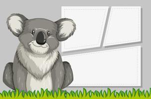 Koala in notitie sjabloon vector