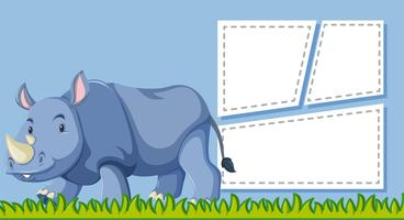 A rhinoceros on blank note vector