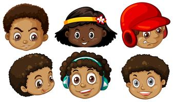 set of african american heads vector