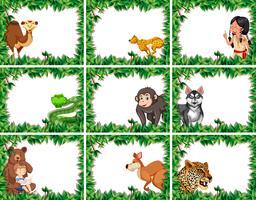 Ensemble d'animaux sur la frontière de la nature