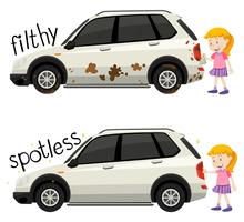 Engels tegenovergesteld woord smerig en vlekkeloos