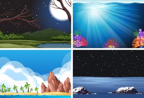 Set of nature scene vector