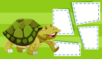 A turtle on note template vector
