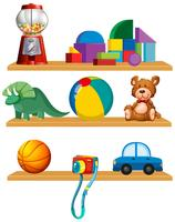 Set of toys in the shelf vector