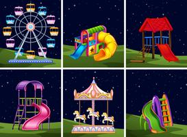 Set of playground element at night