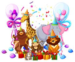 Wild animal celebrate birthday vector