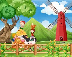 Uma fazenda com cena de vacas