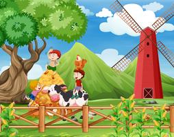 A Farm with cows scene