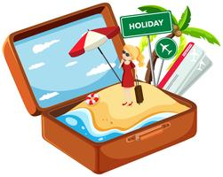 Holiday girl in suitcase