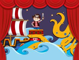 Stage play with pirate fighting kraken