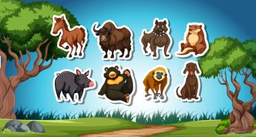 Set of wild animal sticker vector