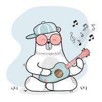cute doodle white bear plays guitar