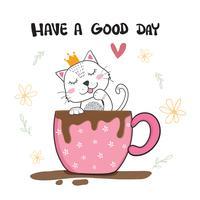 Lindo gato lamiendo mano en taza de café, dibujado a mano