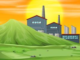 Una fábrica en escena de la naturaleza.