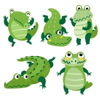 crocodile character vector design