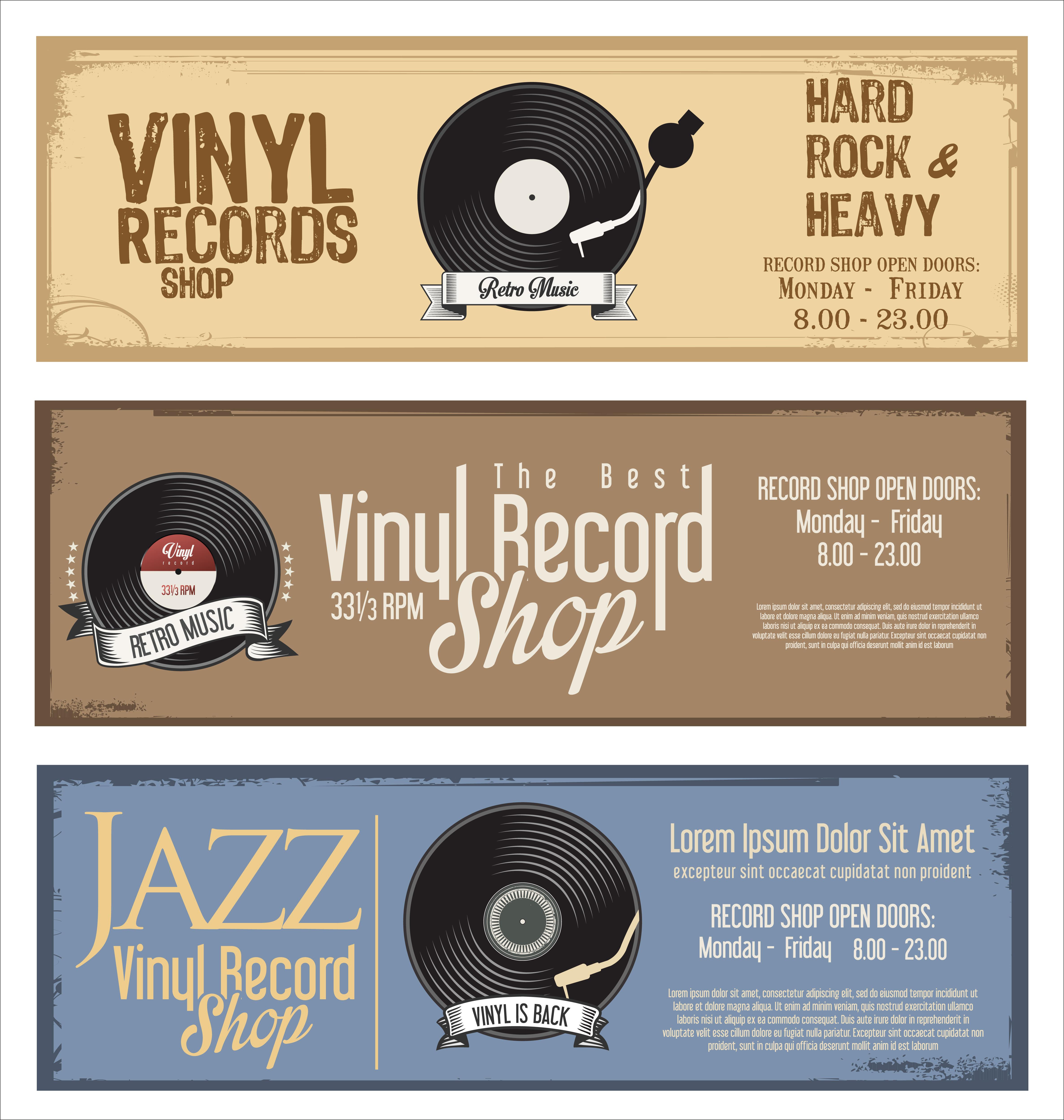 Vinyl record shop retro grunge banner - Download Free Vector Art