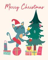 Christmas card, cute fox on gift box with tree