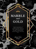 Banner de moldura de ouro sobre fundo de mármore preto