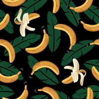 Banana Seamless Pattern with Leaves  vector