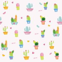 pastel cactus watercolour pattern seamless