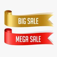 rote und goldene Verkaufsbandfahne